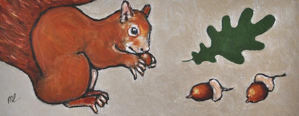 Eekhoorn-20x50cm-acryl