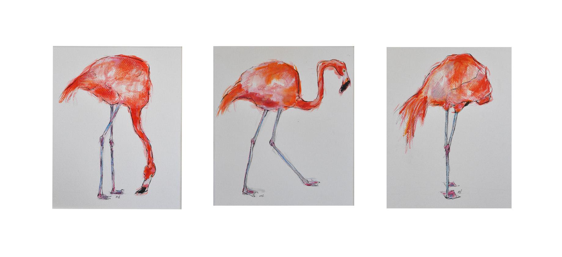 Flamingo-drieluik-mixedmedia
