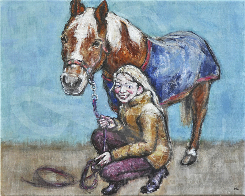 Paard en meisje-40x50cm-acryl